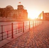 Het gebouw Reichstag (Bundestag), Berlijn Duitsland Stock Foto