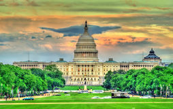 Het gebouw van het Capitool van Verenigde Staten in Washington, gelijkstroom stock foto