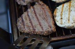 Het gebraden been van de Kip met gebraden gerechten en salade Royalty-vrije Stock Foto