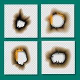 Het gebrande stuk brandde de langzaam verdwenen document van de de paginablad gescheurde as van de gaten realistische brand vlam  royalty-vrije illustratie