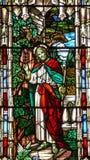 het gebrandschilderd glas Jesus van de de 19de eeuwkerk royalty-vrije stock foto's