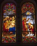 Het Gebrandschilderd glas Saigon Vietnam van de Kathedraal van Notre Dame stock afbeeldingen