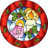 Het gebrandschilderd glasdecoratie van Kerstmis Royalty-vrije Stock Afbeeldingen