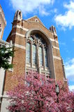 Het gebrandschilderd glasvenster van de kerk stock foto