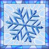 Het gebrandschilderd glasvenster van de sneeuwvlok met frame. Stock Afbeelding