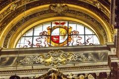Het Gebrandschilderde glas Rome Italië van heilige Agnese Agone Church Dove Eagle Stock Afbeelding