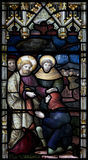 Het Gebrandschilderde glasvenster van de Christchurchkathedraal Stock Foto's