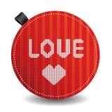Het gebreide hart van de valentijnskaart Stock Foto