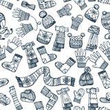Het gebreide naadloze patroon van kledingstoebehoren Stock Foto