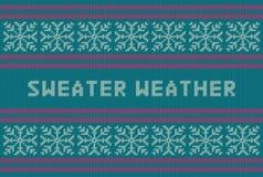 Het gebreide patroon van de de wintervakantie met sneeuwvlokken en de titel van het Sweaterweer royalty-vrije illustratie
