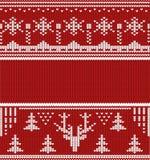 Het gebreide rood van de winter naadloze lineaire ornamenten Stock Fotografie