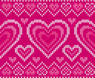 Het gebreide vector naadloze patroon van valentijnskaarten dag Stock Afbeelding