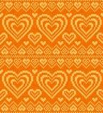 Het gebreide vector naadloze patroon van valentijnskaarten dag Royalty-vrije Stock Fotografie