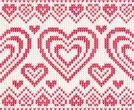 Het gebreide vector naadloze patroon van valentijnskaarten dag Royalty-vrije Stock Afbeelding