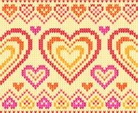 Het gebreide vector naadloze patroon van valentijnskaarten dag Stock Foto