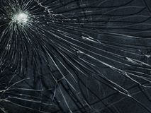 Het gebroken glas De het wit en zwarte van de barstentextuur Stock Fotografie