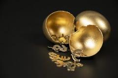 Het gebroken Gouden ei, en van het goot de Gouden symbolen van de dollar, Euro, winst uit royalty-vrije stock afbeelding