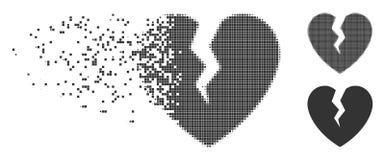 Het gebroken Halftone Pictogram van het Hart Bewegende Pixel vector illustratie