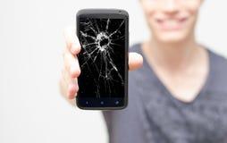 Het gebroken mobiele telefoonscherm Stock Afbeeldingen
