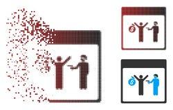 Het gebroken Pictogram van de de Kalenderpagina van de Pixel Halftone Arrestatie vector illustratie