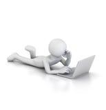 Het gebruiken van Laptop het liggen royalty-vrije illustratie