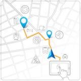 Het gebruiken van tablet voor de navigatievector van de straatkaart Stock Afbeeldingen