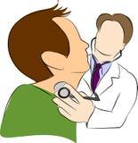 Het gebruiksstethoscoop van de arts met patiënt royalty-vrije illustratie
