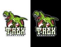 het gebrul van groene moderne dierlijke mascotte t -t-rex voor esportembleem en t-shirtillustratie Stock Foto