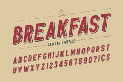 Het gecondenseerde retro ontwerp van de vertoningsdoopvont, alfabet, karakter - plaats, ty stock illustratie