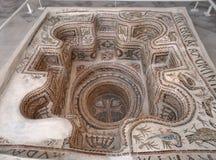 Het gedaalde Archeologische Museum van Sousse van de Mozaïek Doopdoopvont Stock Foto's