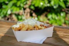 Het gedeelte verse gebraden de aardappelsstokken van België met inion, ketshup en verzadigt saus stock foto's