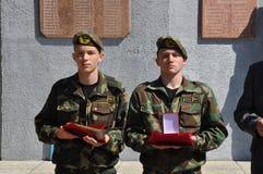 Het gedenkteken aan militairen die in Afghanistan, in het Gomel-gebied van de Republiek Wit-Rusland stierven Stock Foto