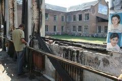 Het gedenkteken van de Beslanschool, waar de terroristische aanslag in 2004 was stock afbeeldingen