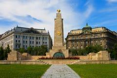Het gedenkteken van de oorlog in Boedapest, Hongarije Stock Foto