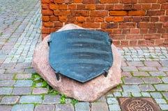 Het gedenkteken voor onthoudt een jonge Baker ` s Handlanger - een legendarische verdediger van Elblag In 1521, gebruikte hij zij Stock Fotografie