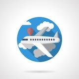 Het gedetailleerde pictogram van de luchtvaartlijnreis kleur Stock Foto's