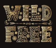 Het gedetailleerde sier Wilde en Vrije van letters voorzien stock illustratie