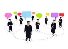 Het gediplomeerde Vrolijke Communautaire Concept van studentenNetwork Royalty-vrije Stock Foto