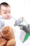 Het gedrag van de baby stock foto