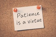 Het geduld is een Deugd Royalty-vrije Stock Afbeelding