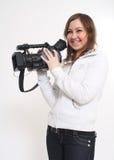 Het gedurfte meisje met een videocamera royalty-vrije stock afbeelding