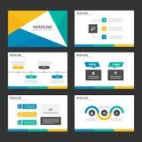 Het geelgroene blauwe Infographic-van het de presentatiemalplaatje van het elementenpictogram vlakke ontwerp plaatste voor de rec Royalty-vrije Stock Afbeeldingen