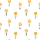 Het geeloranje abstracte madeliefje bloeit naadloze patroonillustratie als achtergrond stock illustratie