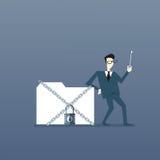 Het Gegevensbestand van zakenmanholding key from, Collectief Gegevensbeschermingconcept Royalty-vrije Stock Fotografie