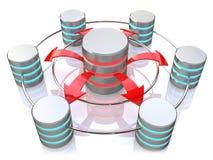 Het gegevensbestandsymbool verbond met 3d pictogrammen van de metaalharde schijf (geef terug) Stock Afbeeldingen