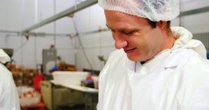 Het gehakt van de slagersholding in container stock video
