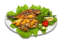 Het geheel griled doradavissen stock afbeelding