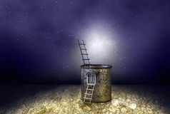 Het geheimzinnige kosmische landschap van het fantasiehuis Royalty-vrije Stock Fotografie