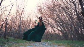 Het geheimzinnige mythische schepsel loopt langzaam door bos met naakte bomen, dame in lange groene smaragdgroene vliegende kledi stock videobeelden