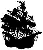 Het geheimzinnige silhouet van het piraatschip Stock Fotografie